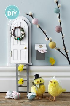 4 Awesome Easter Crafts To Do With Your Kids Diy Fairy Door, Fairy Doors, Easter Garden, Chicken Crafts, Easter Egg Crafts, Crafts To Do, Diy For Kids, Diys, Inspiration
