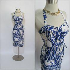 ALFRED SHAHEEN 1950's Vintage 50th State Blue and White Cotton Hawaiian Sarong Tiki Dress