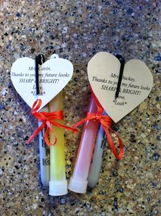 """Teacher Valentines - A glow stick and a Sharpie - card says """"Thanks to you my future looks SHARP & BRIGHT""""   Kids Valentine-- glow sticks with a card saying """"You make me GLOW!"""""""