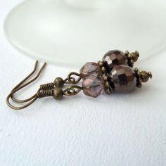 Rich brown crystal earrings, vintage style £6.00