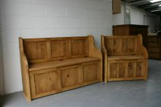Rustic Plank Style Monks Bench/Settle With Storage (MADE TO ANY SIZE)   eBay