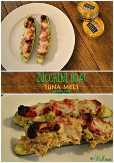 Zucchini Boat Tuna Melt, gluten free - made with @bumblebeefoods #ad