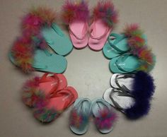 Check out this item in my Etsy shop https://www.etsy.com/listing/291716997/girls-fuzzy-flip-flops-with-bracelet