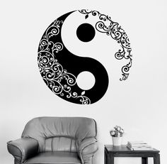 Mandala etiqueta de la pared calcomanía buda Yin Yang Floral meditación Yoga Vinyl Decal Wall Art Mural decoración decoración(China (Mainland))