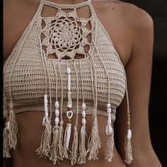 The dream catcher crop in sand $49 handmade hand beaded on model @l_cowcher