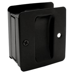 Matte Black Passage Pocket Door Lock. Laundry room and passage from master bedroom to master bathroom