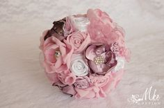 Mauve, pink and white wedding bouquet with lace, tulle, satin, silver pearls brooch, button by MkeFlower on Etsy