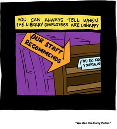 "Library humor, ""Saturday Morning Breakfast Cereal"" strip by Zach Weiner at www.smbc-comics.com"