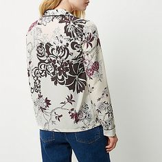 Cream floral print pyjama shirt jacket - shirts - tops - women