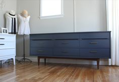 blue.lamb furnishings : Navy MCM Lowboy w/ Brass Pulls - $900 possible credenza/TV stand for upstairs rec room (Trinka's room)