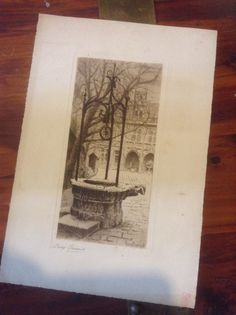 Etching French Artist Lucy Garnot The Well by bellabooovintage