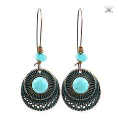 En forme de cœur lustre boucles d/'oreilles bleu et blanc 925 Sterling /& Tibétain Fait Main