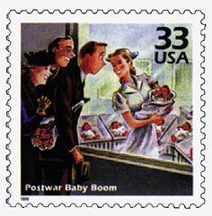 USA Feb 2, 1999- Scott# 3186 l #32c Postwar baby boom. Nurse with newborn baby.