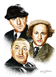 The Three Stooges in pointillism.  STILL LOVE THESE GREAT GUYS!   MEMORIES......