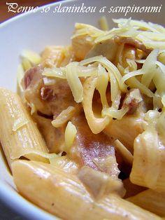 Penne so slaninkou a sampinonmi Penne, Pasta, Macaroni And Cheese, Indie, Spaghetti, Ethnic Recipes, Food, Mac And Cheese, Essen