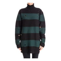 Alexander Wang Oversize Jumper (€470) ❤ liked on Polyvore featuring tops, sweaters, black, striped top, stripe sweater, oversized wool sweater, over sized sweaters e alexander wang sweater