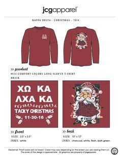 JCG Apparel : Custom Printed Apparel : Kappa Delta Tacky Christmas T-Shirt #kappadelta #kd #christmas #tackychristmas #santa #naughtyornice