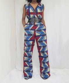 African print jumpsuit, jumpsuit, Ankara Jumpsuit, wide leg jumpsuit, kente juimpsuit, V-Neckline juimpsuit, African fashion by BoutiqueModiste on Etsy