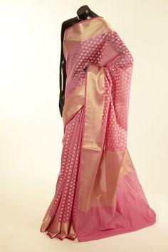 Banarsi- cotton pure fuschia pink saree with blouse