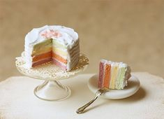 Dollhouse Miniatures, Miniature Food Jewelry, Craft Classes: Dollhouse Miniature 1:12 Stylish Rainbow Cake
