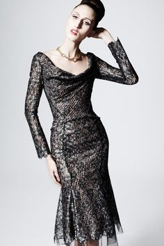 Zac Posen: Pre-Fall 2013 RTW [the pose isn't too bad but what's with that expression?]