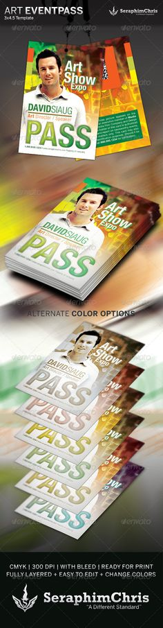 This Art Show Event Pass Template is customized for anyone that needs a slick presentation for their event. Add this to your promotional arsenal for a maximum effect. $6.00