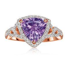 JK Crown: Amethyst & Diamond Ring in 10k Rose Gold