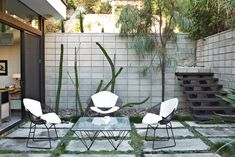 Outdoor, Small Patio, Porch, Deck, Concrete Patio, Porch, Deck, Concrete Fences, Wall, Walkways, Hardscapes, Garden, Gardens, Trees, and Back Yard Outside, a set of Bertoia chairs offer an appealing perch around a vintage glass-and-metal table.  Photo 11 of 13 in The First LEED Gold-Certified Family Home in San Diego