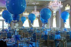 Swim Themed Balloon Centerpiece Blue Marble Balloon Centerpiece with Logo Cutout & Floating Swimmers