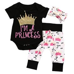 ad724e1d99d3 NoEnName-Null new Cute Newborn Baby Girls Princess Crown Print Cotton Black  Short Sleeve Rompers+Pants+Headband Outfits Set