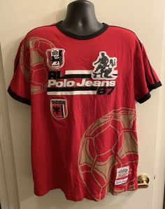 ☀Ralph Lauren☀Polo Jeans 67 T-Shirt Sz L Red Black Soccer Futbol RL USA Made e3a2b68b9