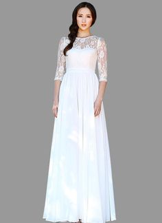 White Lace Chiffon Maxi Dress with Elbow Sleeves RM535