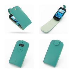 PDair Leather Case for Acer Liquid E1 Duo V360 - Flip Top Type (Aqua)