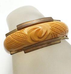 Vintage Art Deco Deeply Carved Bakelite Brass Bracelet
