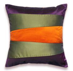 Olive Green Orange Eggplant Purple Pillow Case by DelindaBoutique, $21.00