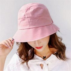 1c193843091 Ruched cotton bucket hat for women summer plain sun hats with bow