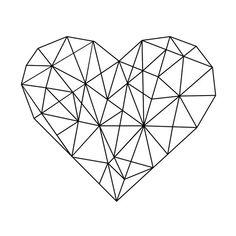 Geometric Heart, Black and White Geometric Print, Heart Wall Print, Minimal Printable Art, Wall Prin