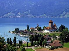 Lake Thun, Switzerland.  It really does look like this.  This is where my summer home will be when I win the Lottery ;-)
