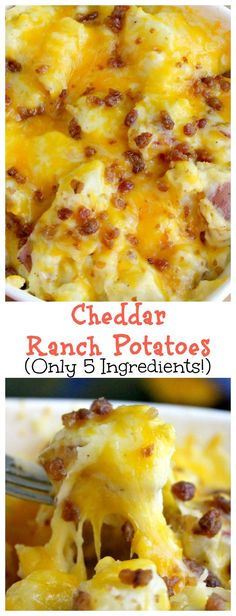 Baked Cheddar Ranch Potatoes-These Cheesy Potatoes are so easy to make. They are the perfect side dish.