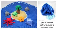 Island Play Set with Palm Tree, Startfish, Shark, Whale, Turtle and Octopus Amigurumi - Free Crochet Pattern here: http://squirrelpicnic.com/2014/09/18/make-it-challenge-10-crochet-island-play-set/