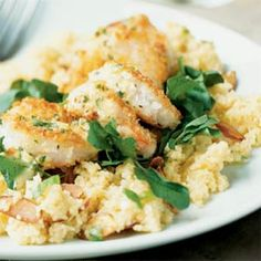 Crunchy Shrimp with Toasted Couscous and Ginger-Orange Sauce | MyRecipes.com