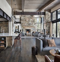 Incredible mountain modern dwelling offers slope-side living in Montana This mountain modern dwelling was designed by Centre Sky Architecture, located in the community of Moonlight Basin in Big Sky, Montana. Home Living Room, Living Room Designs, Living Area, Living Spaces, Modern Mountain Home, Mountain Living, Cabin Interiors, Modern Rustic Interiors, Rustic Modern Living Room
