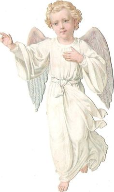 Oblaten Glanzbild scrap die cut chromo Engel 13,5cm angel cherub: