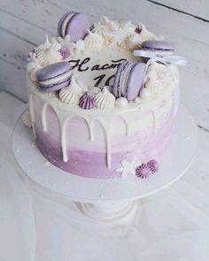 Fig and almond cake - HQ Recipes Girly Birthday Cakes, Beautiful Birthday Cakes, Beautiful Cakes, Amazing Cakes, Birthday Ideas, Bolo Macaron, Macaroon Cake, Cake Decorating Videos, Birthday Cake Decorating