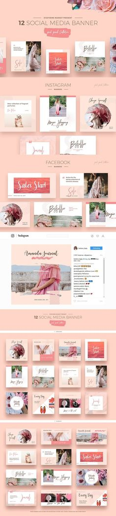 Pink Peach Social Media Designs. Web Elements