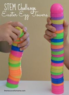 This Easter egg towers STEM challenge is a fun activity that uses plastic Easter eggs. It will get kids talking about what makes a strong and stable building. Another fun way to play with plastic Easter eggs!