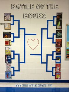 15 Awesome March Madness Decor Ideas For Your Classroom or School Get your school or classroom in the spirit with one of these fun bulletin board or hallway wall ideas! School Library Displays, Middle School Libraries, Elementary School Library, Elementary Library Decorations, School Library Decor, English Classroom Decor, School Library Lessons, Classroom Libraries, Class Library
