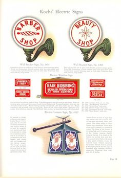 1929 Kochs' Barber Shop & Beauty Shop Fixtures, Catalog No. Electric Signs, Barber Supplies, Beauty Shop, Custom Logos, Barber Shop, Bob Hairstyles, Miniature, Dayton Ohio, Safety Razor