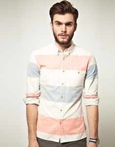 ASOS Oxford Shirt In Block Stripe...