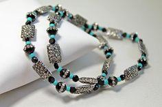Flower Printed Beads Stretch Bracelet by Yvets on Etsy